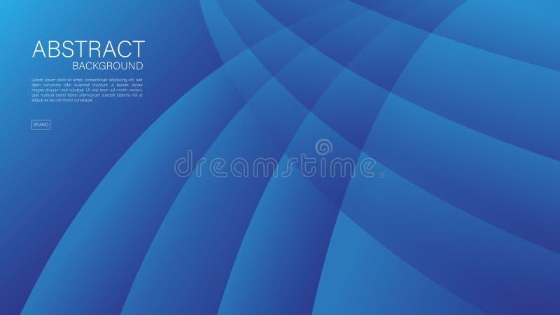 Błękitny abstrakcjonistyczny tło, fala, Geometryczny wektor, grafika, Minimalna tekstura, okładkowy projekt, ulotka szablon,  royalty ilustracja
