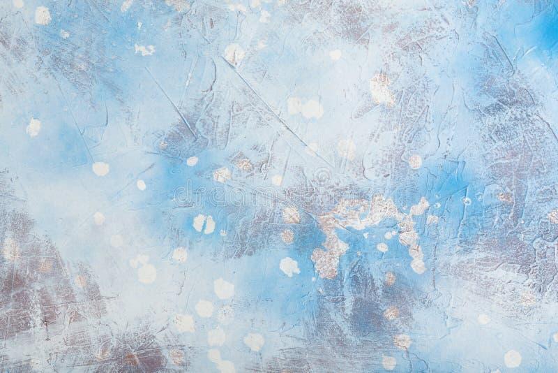 Błękitny Abstrakcjonistyczny tło Handmade Z kiści tłem fotografia stock