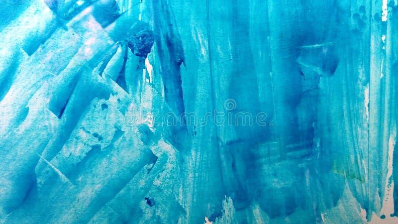 Błękitny abstrakcjonistyczny tło ręka malujący akrylowy royalty ilustracja