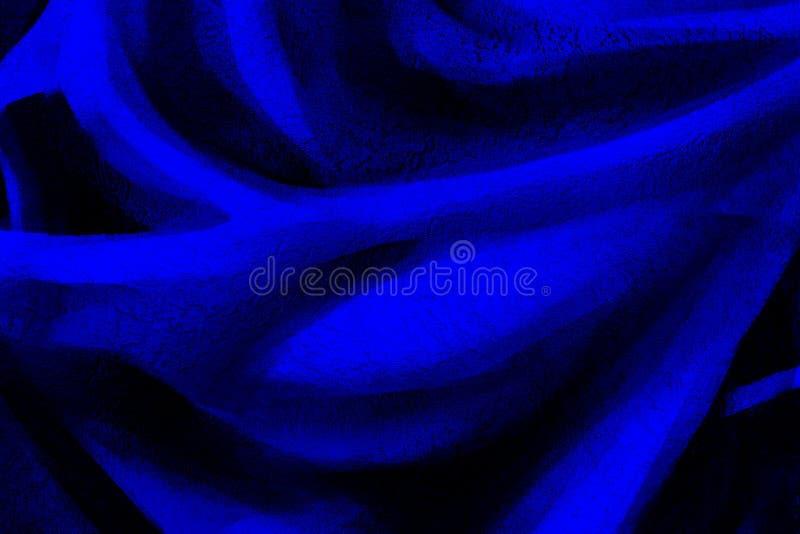 Błękitny abstrakcjonistyczny tło z czerń rozwodów falami fotografia stock