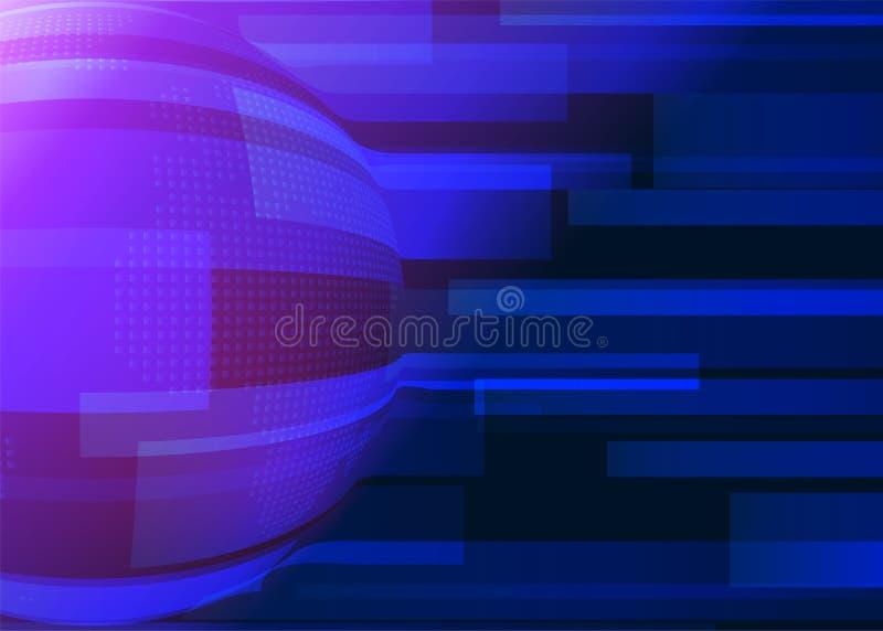 Błękitny abstrakcjonistyczny tło z liniami, ziemska kula ziemska w zmroku i różowy lekki skutek, - błękitów kolory Technologia ge royalty ilustracja