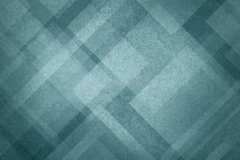 Błękitny abstrakcjonistyczny tło z nowożytnym geometrycznym deseniowym projektem i starą rocznik teksturą royalty ilustracja