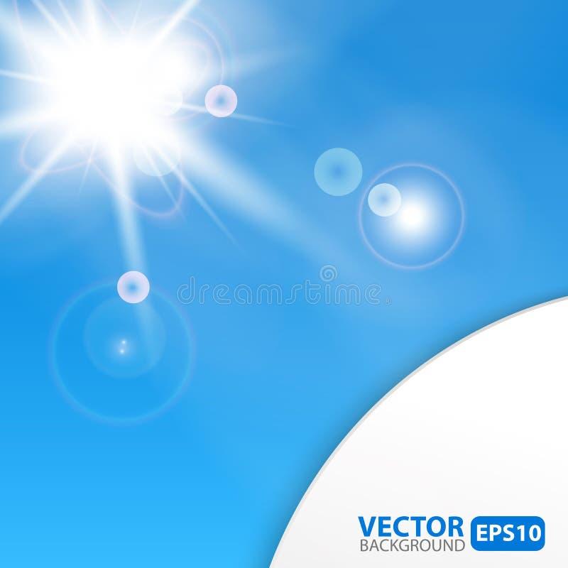 Błękitny abstrakcjonistyczny tło z sunburst racą ilustracja wektor