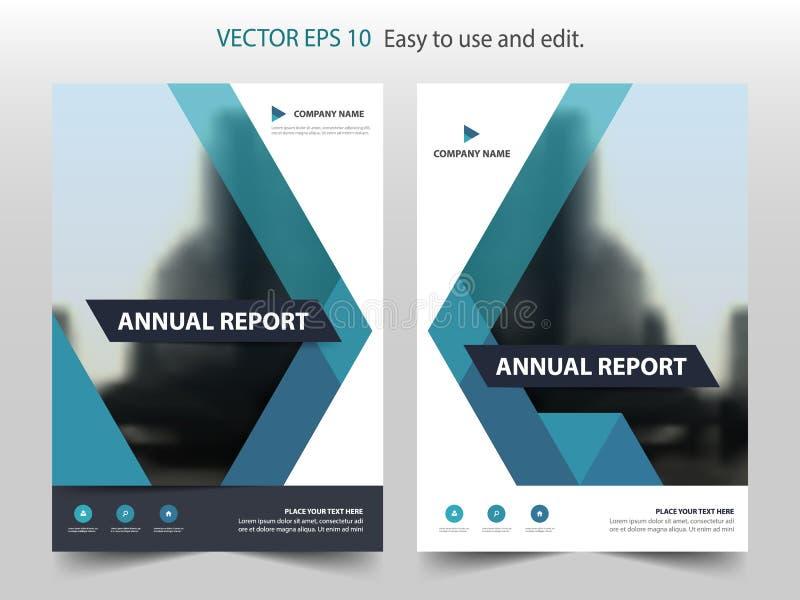 Błękitny abstrakcjonistyczny trójboka sprawozdania rocznego broszurki projekta szablonu wektor Biznesowych ulotek magazynu infogr royalty ilustracja