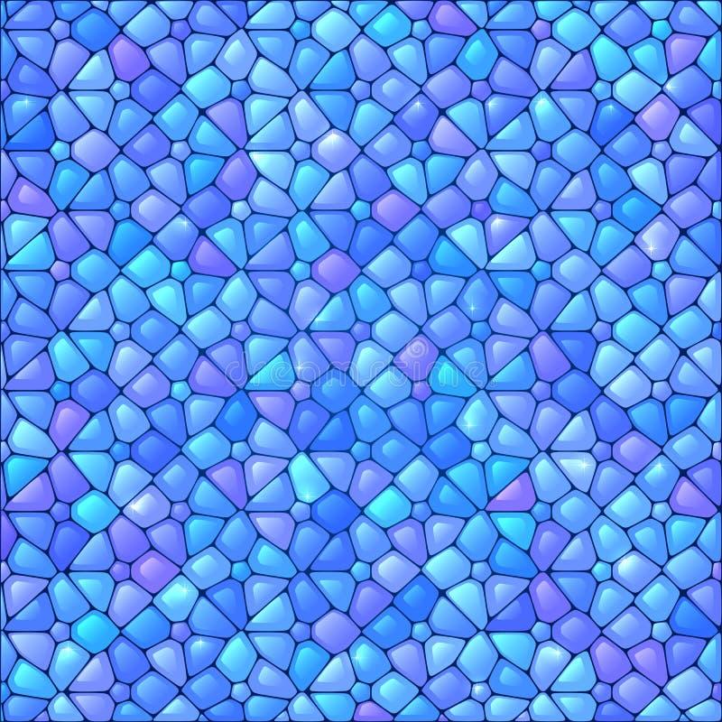 Błękitny abstrakcjonistyczny witraż mozaiki tło royalty ilustracja