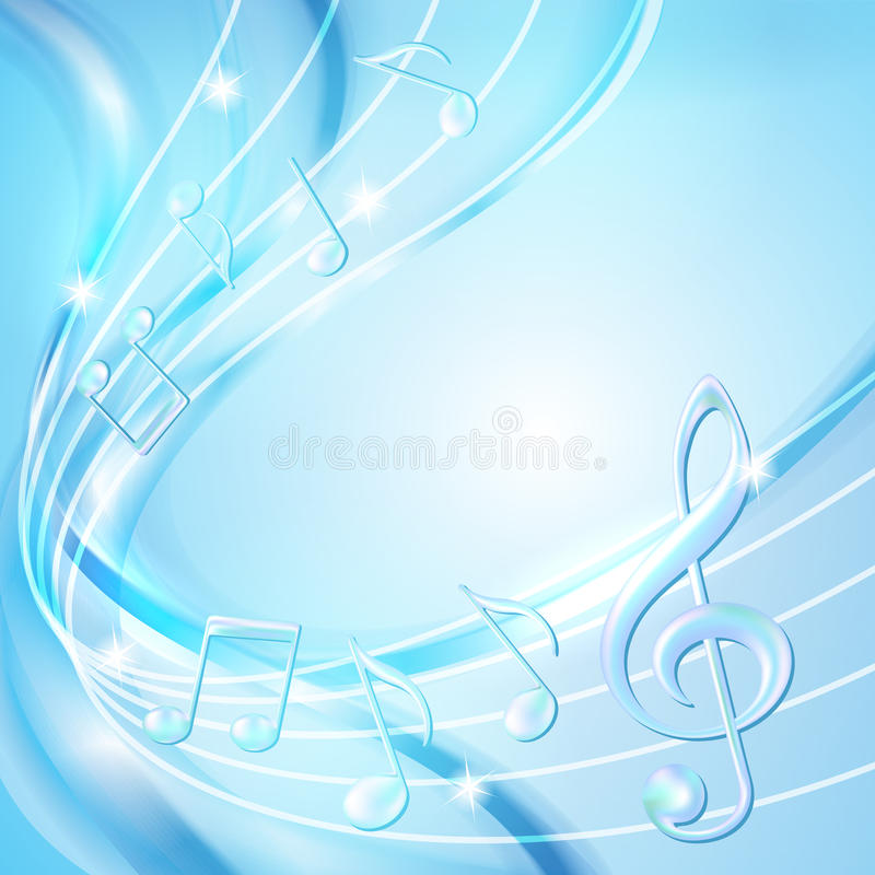 Błękitny abstrakt zauważa muzycznego tło. ilustracja wektor
