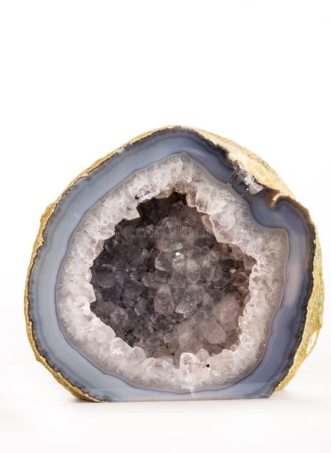 Błękitny agat z Kwarcowym kryształem zdjęcie stock