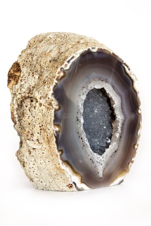 Błękitny agat z Kwarcowym kryształem Odizolowywającym na bielu fotografia stock