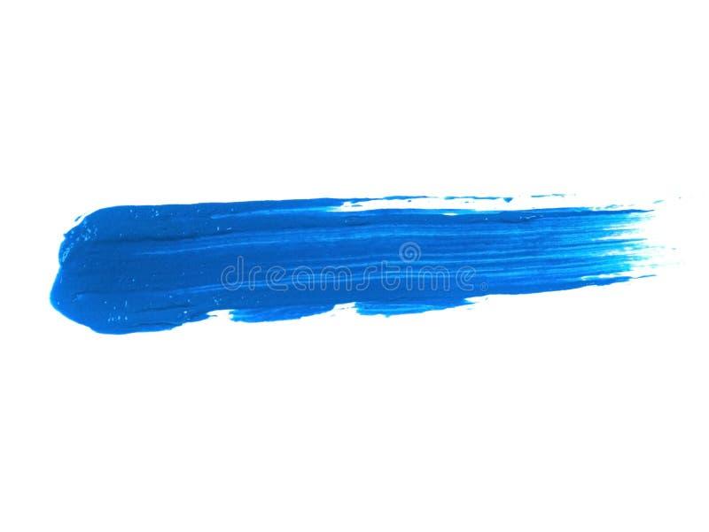 Błękitny Akrylowej farby uderzenie Odizolowywający na Białym tle obraz royalty free