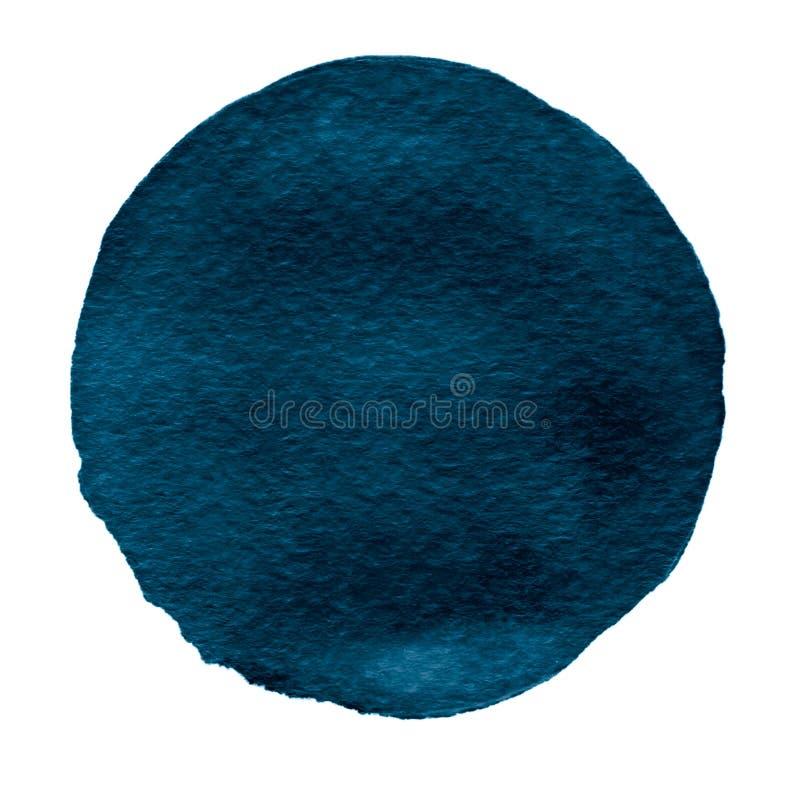 Błękitny akwarela okrąg Watercolour plama na białym tle ilustracji