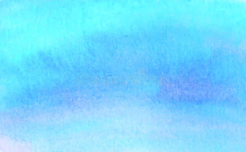 Błękitny akwarela wektoru tło Abstrakcjonistyczny ręki farby kwadrata plamy tło royalty ilustracja