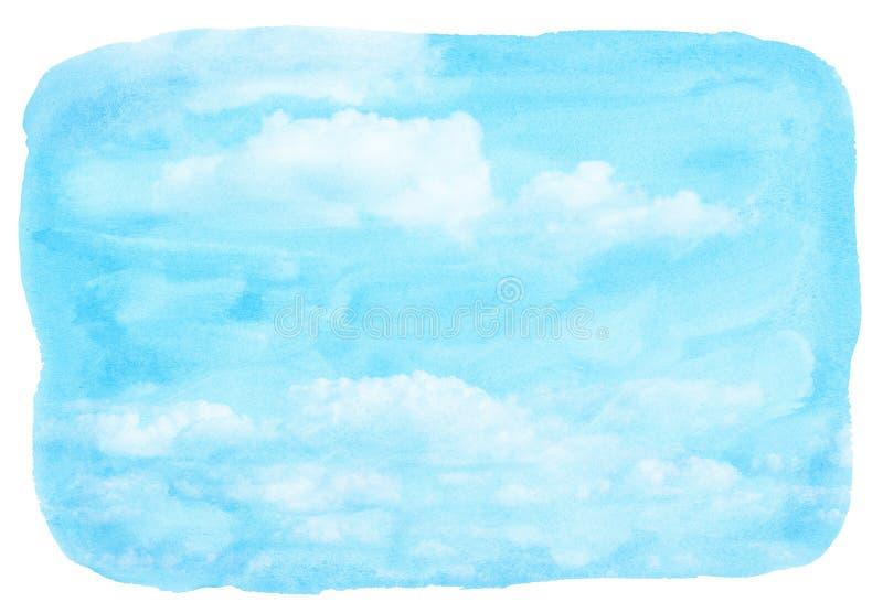 Błękitny akwareli niebo i chmura royalty ilustracja