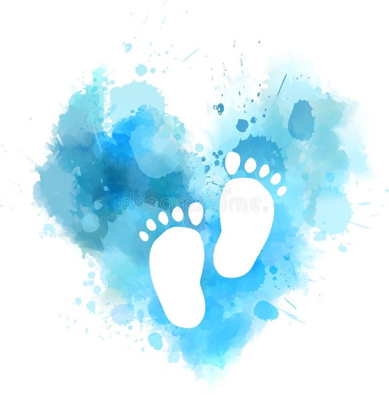 Błękitny akwareli serce z dziecko odciskami stopymi ilustracja wektor