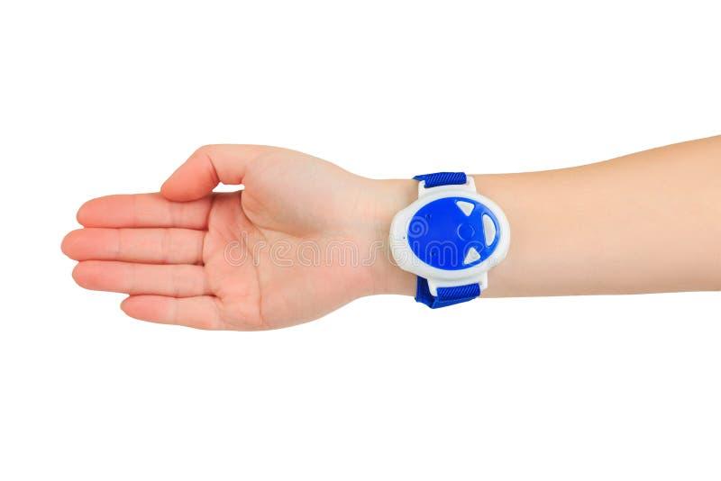 Błękitny anty chrapania wristband na ręce obraz stock