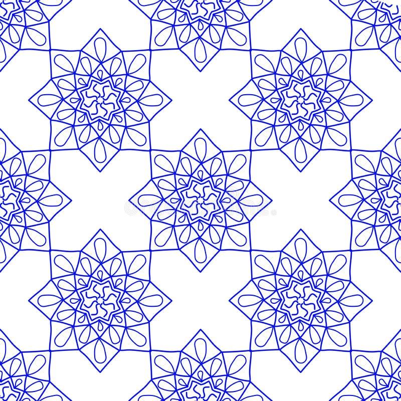 Błękitny Arabski rocznika ornament niebieski mandala Wzorzystość projekta element, joga logo dla twój projekta royalty ilustracja