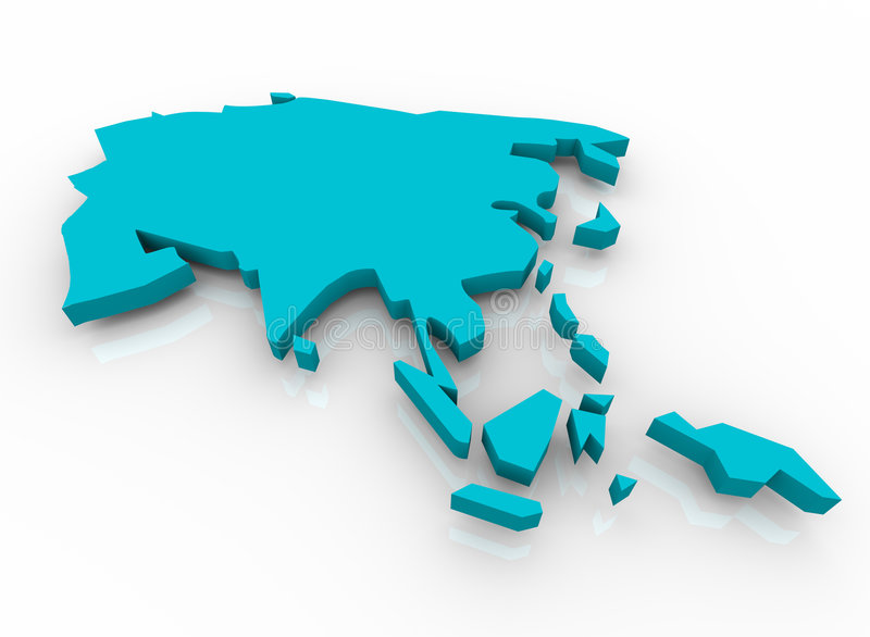 błękitny Asia mapa