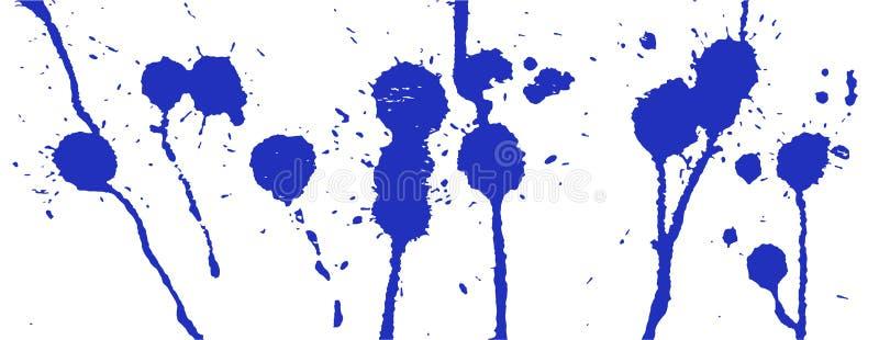 błękitny atramentu pluśnięcie farby splatter Błękitów kleksy na bielu Atrament plamy ilustracja wektor