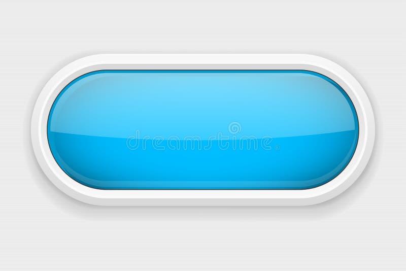 Błękitny błyszczący owalny guzik Na białym skołtunionym tle Sieć interfejsu element ilustracja wektor