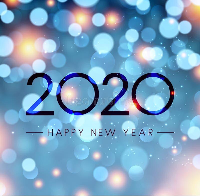 Błękitny błyszczący Szczęśliwy nowego roku 2020 plakat z bokeh tłem ilustracji
