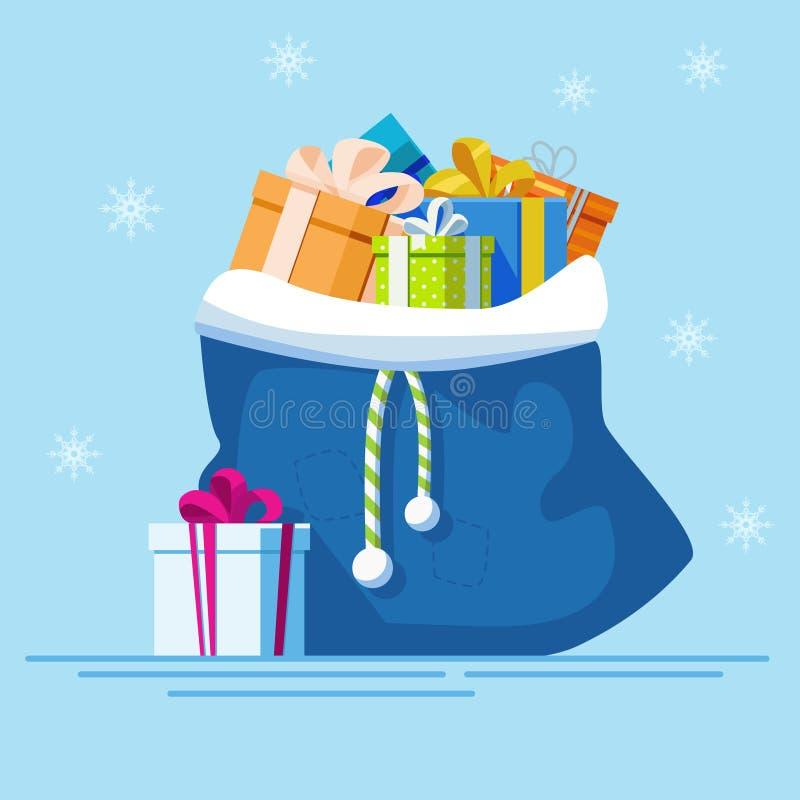 Błękitny bagfull prezenty nowy wektorowy rok