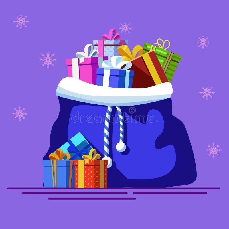 Błękitny bagfull prezenty nowy wektorowy rok ilustracja wektor