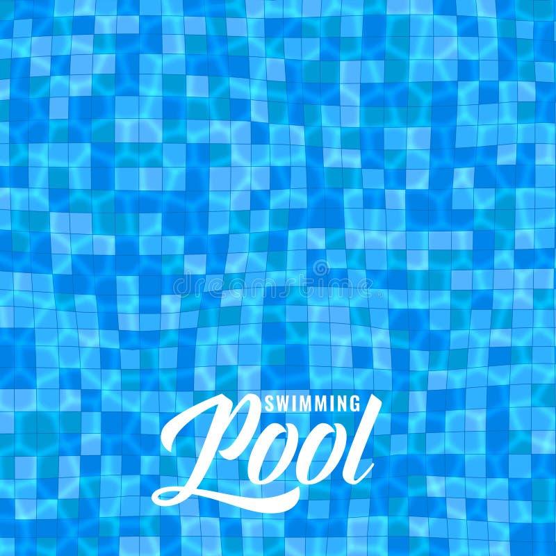 Błękitny basenu tło z caustics ilustracja wektor