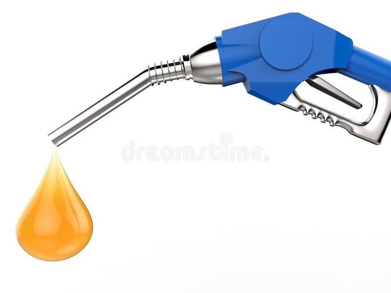 Błękitny benzynowej pompy nozzle z olej kroplą royalty ilustracja
