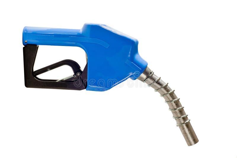 Błękitny benzyny Paliwowej pompy Nozzle Kopiować fotografia stock