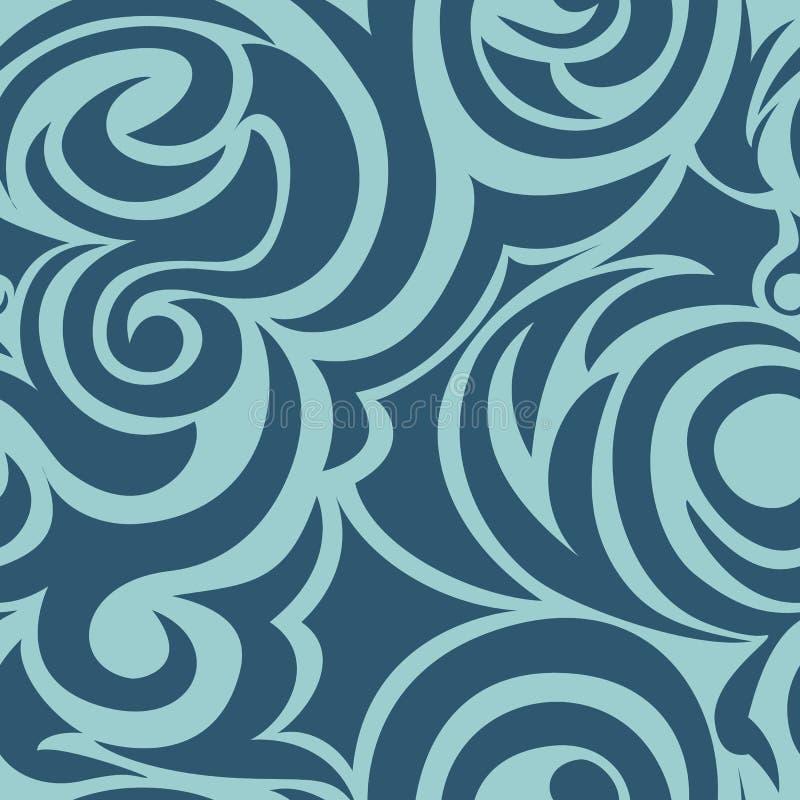 Błękitny bezszwowy wzór spirale i kędziory Dekoracyjny ornament dla t?a ilustracja wektor