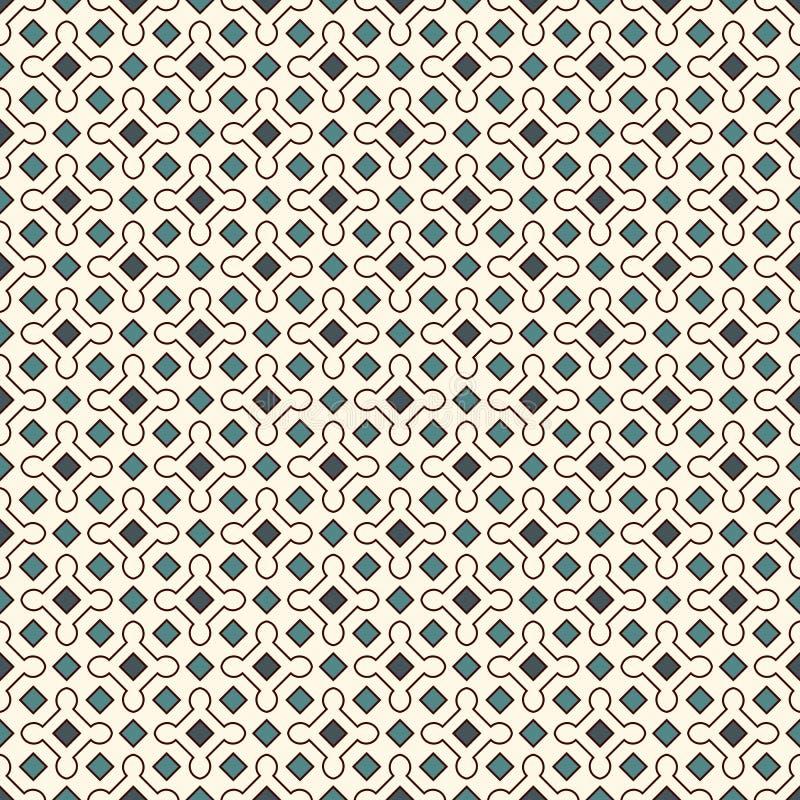 Błękitny bezszwowy wzór z częstotliwymi geometrycznymi postaciami ornamentacyjny abstrakcyjne tło motyw Oriental ilustracja wektor