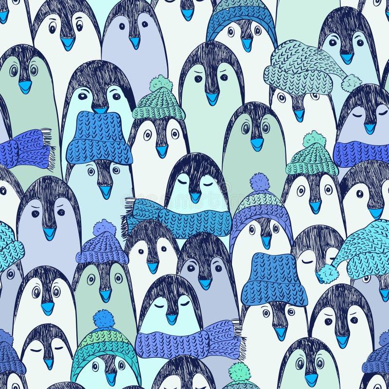 Błękitny Bezszwowy wzór Z pingwinami ilustracja wektor