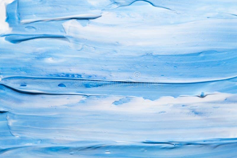 Błękitny biały akrylowej farby brushstrokes tło obrazy royalty free