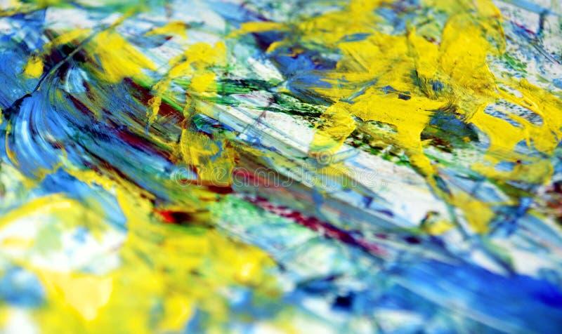 Błękitny biały czerwony żywy plama obrazu akwareli tło, abstrakcjonistyczny obraz akwareli tło obrazy stock