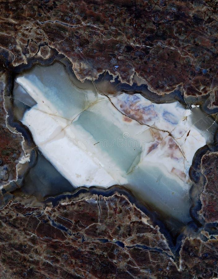 Błękitny, Biały i Brown agata skały plasterek, obrazy stock