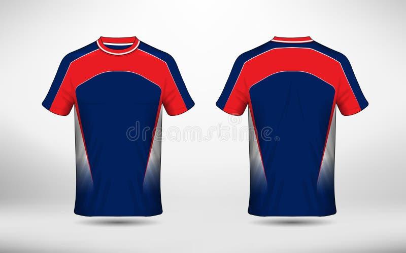 Błękitny biały i czerwony układu sporta koszulki projekta szablon royalty ilustracja