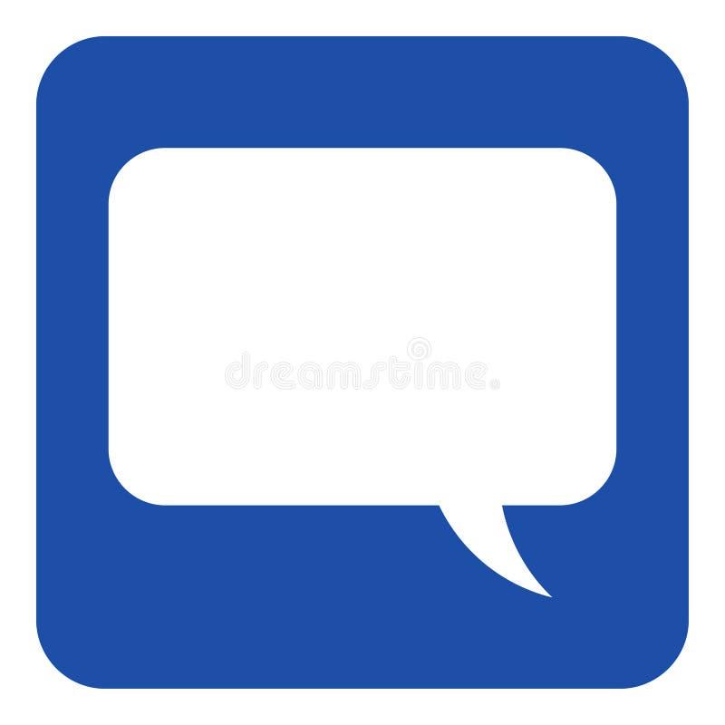 Błękitny, biały informacja znak, mowa bąbla ikona royalty ilustracja