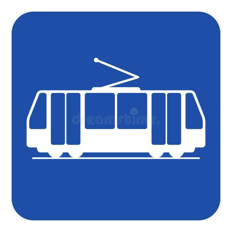 Błękitny, biały informacja znak, - tramwajowa ikona ilustracji