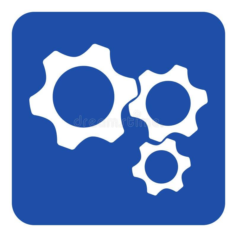 Błękitny, biały informacja znak, - trzy cogwheel ikona ilustracja wektor