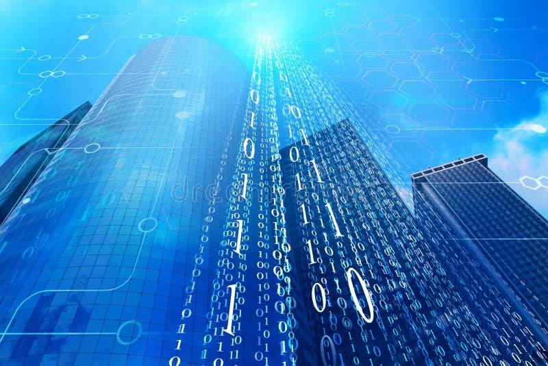 Błękitny binarnego kodu miasto ilustracji