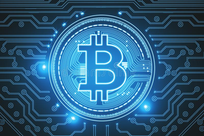 Błękitny bitcoin tło royalty ilustracja