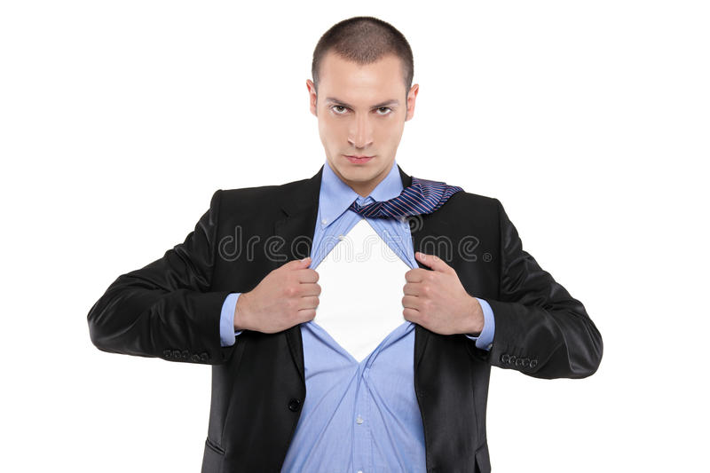 błękitny biznesmena otwarcia koszula bohater obrazy royalty free