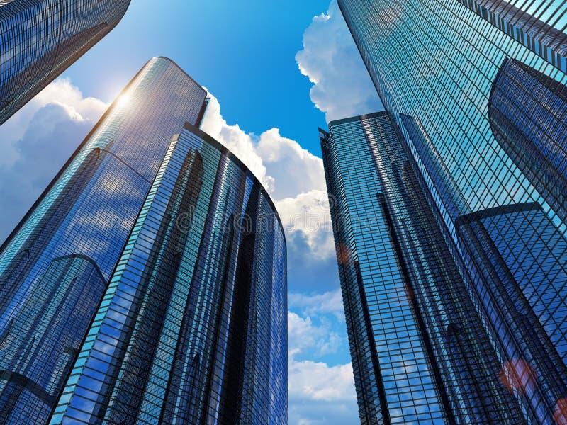 Błękitny biznesowi budynki ilustracji
