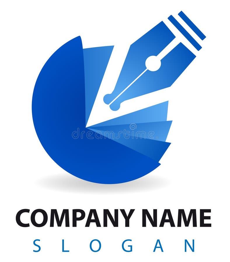 błękitny biznesowy inkwell loga pióro royalty ilustracja