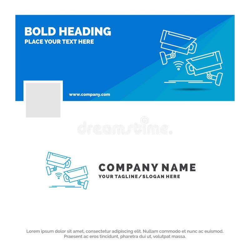 Błękitny Biznesowy logo szablon dla CCTV, kamera, ochrona, inwigilacja, technologia Facebook linia czasu sztandaru projekt Wektor royalty ilustracja