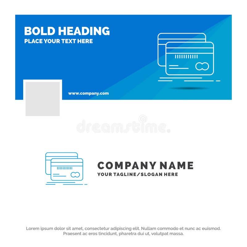 Błękitny Biznesowy logo szablon dla Deponować pieniądze, karta, kredyt, debet, finanse Facebook linia czasu sztandaru projekt 10  ilustracji