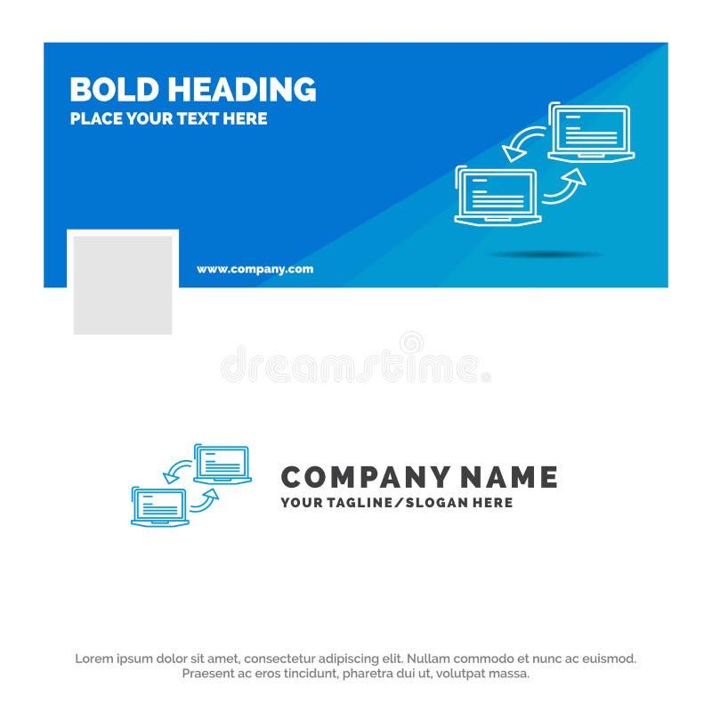 Błękitny Biznesowy logo szablon dla komputeru, związek, połączenie, sieć, synchronizacja Facebook linia czasu sztandaru projekt 1 ilustracji