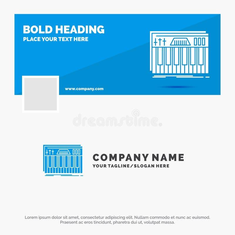 Błękitny Biznesowy logo szablon dla kontrolera, klawiatura, klucze, Midi, dźwięk Facebook linia czasu sztandaru projekt 10 sztand royalty ilustracja
