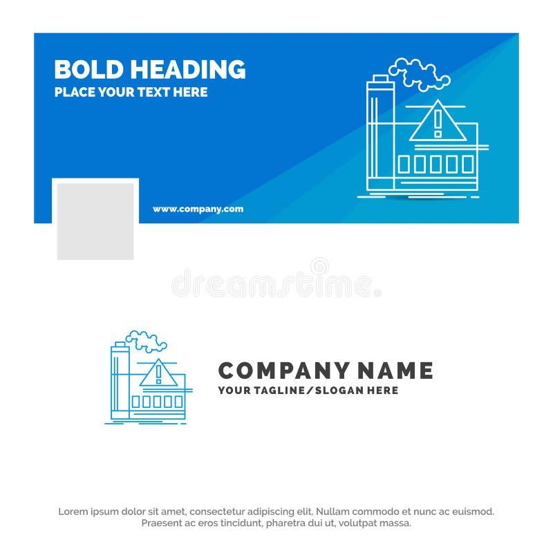 Błękitny Biznesowy logo szablon dla zanieczyszczenia, fabryka, powietrze, ostrzeżenie, przemysł Facebook linia czasu sztandaru pr ilustracja wektor