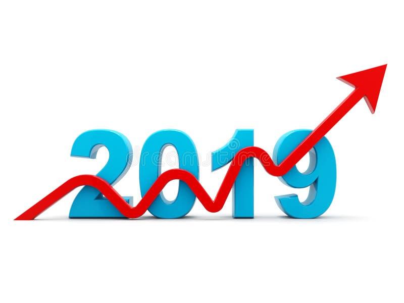 Błękitny biznesowy wykres z strzałą w górę i 2019 symbolem, reprezentuje przyrosta w nowym roku 2019, trójwymiarowy rendering, 3D royalty ilustracja