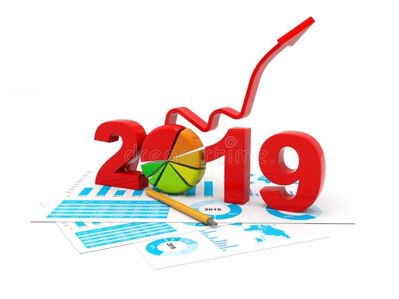 Błękitny biznesowy wykres z strzałą w górę i 2019 symbolem, reprezentuje przyrosta w nowym roku 2019, trójwymiarowy rendering, 3D ilustracja wektor
